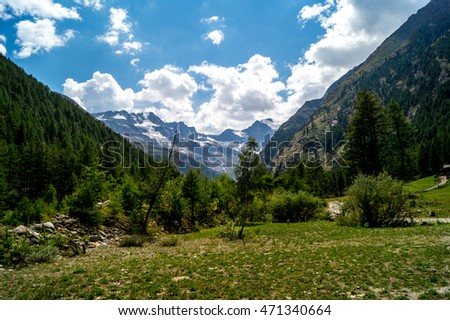 Alps of the Aosta valley, mountains, peaks, ridges summer