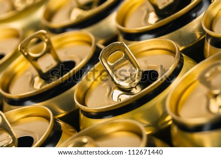 Already open and empty beverage aluminum cans - stock photo
