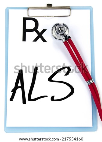 ALS sign write on prescription - stock photo