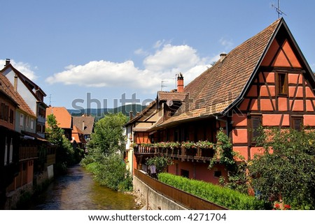 Alsace Breathtaking scene of Kayserber village, France - stock photo