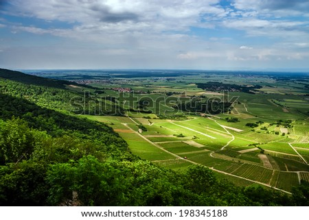Alsace view from the top of hill, french nature - stock photo
