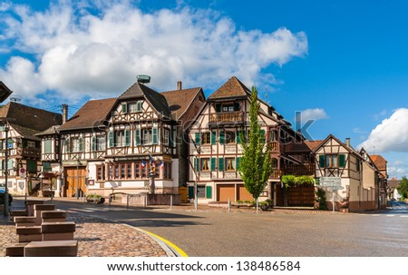 Alsatian style houses in Kintzheim, Alsace, France - stock photo