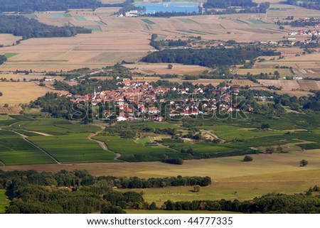 Alsatian village from aerial view - stock photo