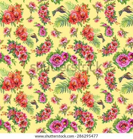 Alstroemeria flowers and humming-birds watercolor seamless pattern on Flavescent background