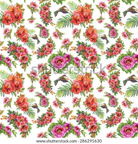Alstroemeria flowers and humming-birds watercolor seamless pattern on white background