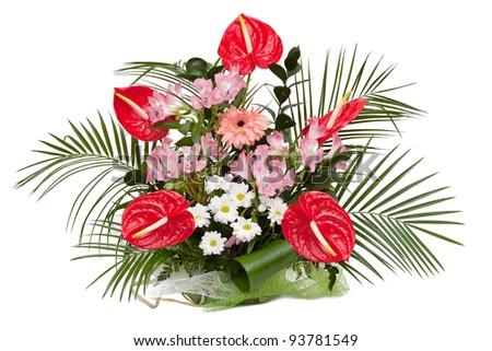 Alstroemeria Saturne, Red Anthurium, White Chrysanthemum, Gerbera. Bouquet isolated on white. - stock photo