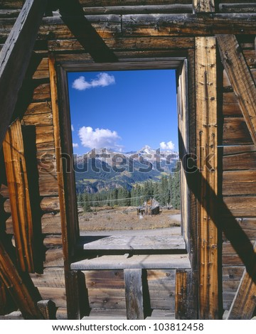 Alta Ghost Town and Mountains, San Juan National Forest, Colorado - stock photo
