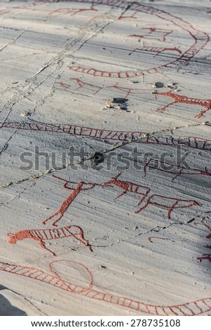 ALTA, NORWAY - JUNE 29, 2014: The World Heritage Rock Art Centre, Alta Museum is the largest of the five open-air rock art sites in Alta, Norway. - stock photo