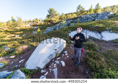 ALTA, NORWAY - JUNE 29, 2014: The World Heritage Rock Art Centre, Alta Museum is the largest of the five open-air rock art sites in Alta, Norway.