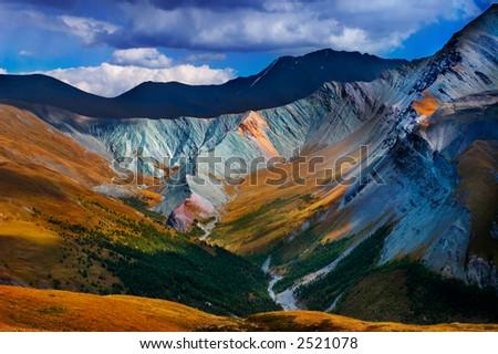 Altai blue mountain - stock photo