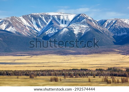 Altai mountains in Kurai area with North Chuisky Ridge on background. - stock photo