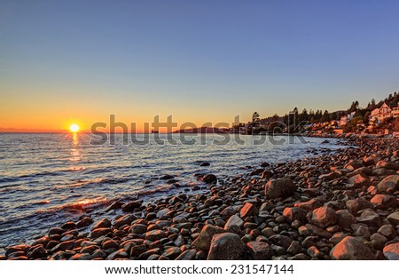 Altamount Beach Park (West Vancouver, British Columbia, Canada) at sunset - stock photo