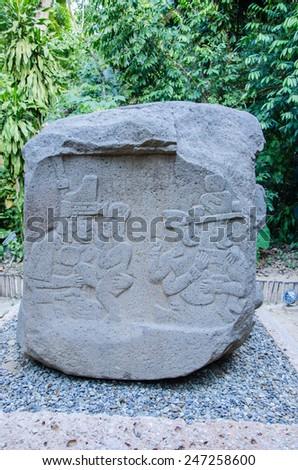 Altar 5 at La Venta Park, Villahermosa, Mexico - stock photo