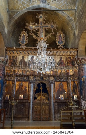 Altar in old greek orthodox church in Guzelurt, North Cyprus                                - stock photo