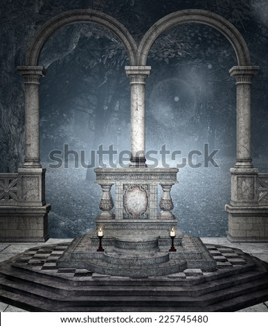 Altar in the blue forest - stock photo