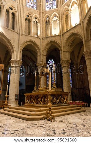 Altar of St. Michael and St. Gudula Cathedral, Brussels, Belgium - stock photo