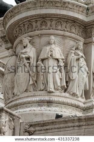 "Altar of the Fatherland (Altare della Patria) known as the Monumento Nazionale a Vittorio Emanuele II (""National Monument to Victor Emmanuel II"") or Il Vittoriano in Rome, Italy - stock photo"