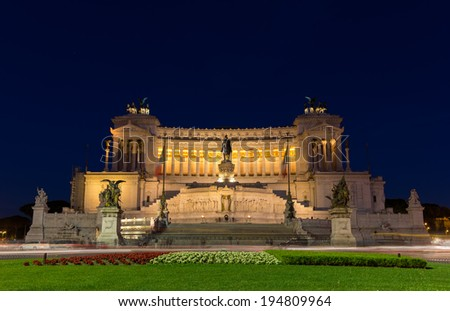 Altare della Patria by night - Rome, Italy - stock photo