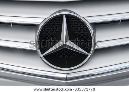 Altea, Spain - 31 October 2015, detail logo of car brand Mercedes Benz
