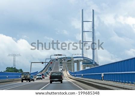 ALTEFAEHR, STRALSUND, GERMANY - JUNE 26, 2012:  Ruegenbruecke, the bridge connects the Island Ruegen with the german mainland. - stock photo