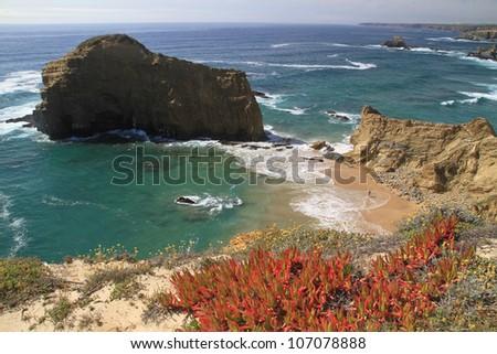 Alteirinhos secret beach, Zambujeira do Mar, Alentejo, Portugal - stock photo