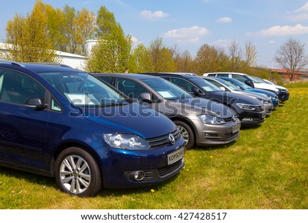 ALTENTREPTOW / GERMANY - MAY 1, 2016: Volkswagen cars stands on car dealer in altentreptow, germany at may 1, 2016.