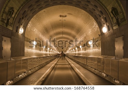Alter Elbtunnel in Hamburg - stock photo