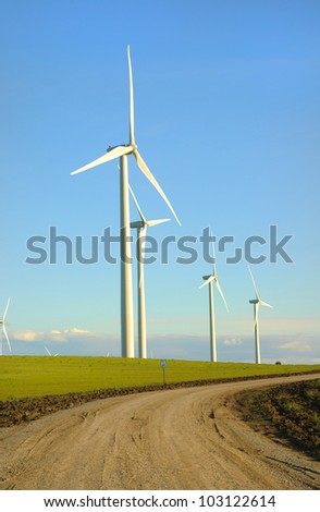 Alternate energy - Wind powered Electrical turbines in Northern California on the Altamont - stock photo