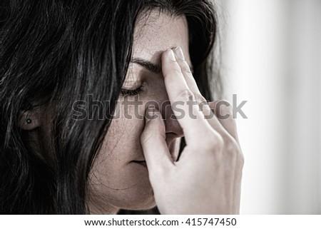 Alternate nostril breathing in Yoga - stock photo