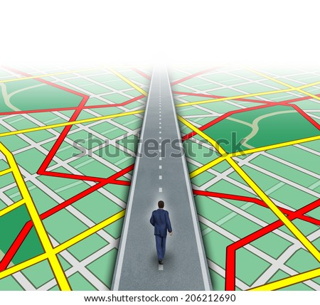 Alternate route and leadership solutions with a businessman walking through a complicated road map as a business focus concept of innovative thinking for financial success. - stock photo