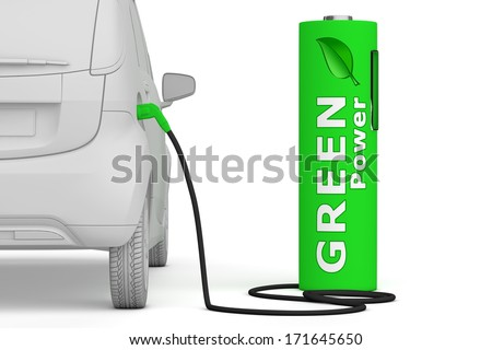 alternative energy green power - a green battery as a fuel pump fuels an E-Car - back view - stock photo