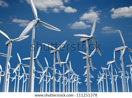 Alternative energy.  Group of energy-producing windmills