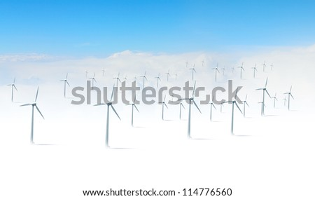 Alternative energy.  Group of energy producing windmills