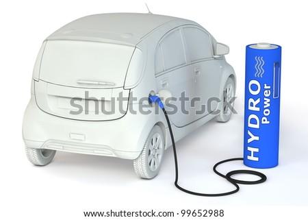 alternative energy hydro power - a dark blue battery as a fuel pump fuels an E-Car - stock photo