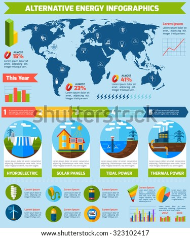 Alternative energy infographics set with eco symbols and charts  illustration