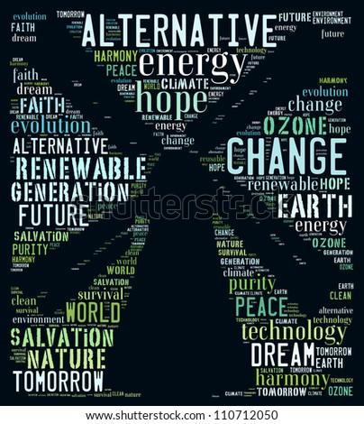 Alternative energy poster: text collage - stock photo