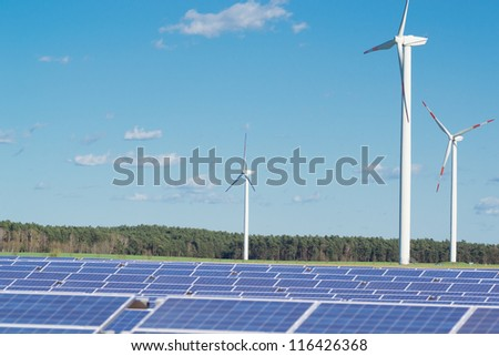Alternative energy Solar panels and wind turbines.