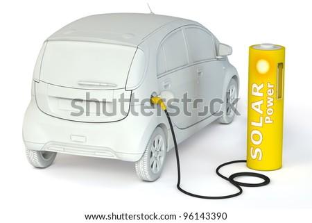 alternative energy solar power - a yellow battery as a fuel pump fuels an E-Car - stock photo