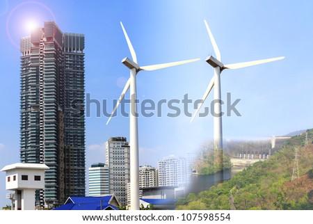 Alternative energy sources  windmills - stock photo