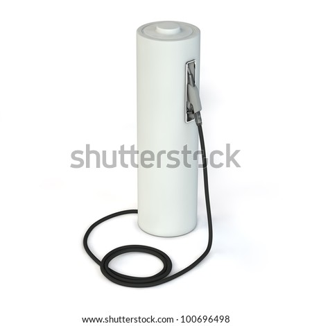 alternative energy template - a grey battery as a fuel pump - stock photo