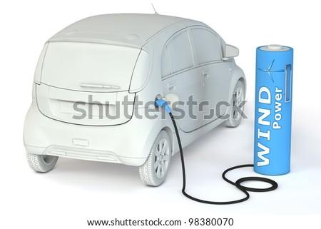 alternative energy wind power - a light blue battery as a fuel pump fuels an E-Car - stock photo