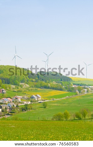 Alternative energy  - windmills and solar panels.
