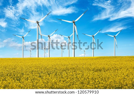 Alternative energy, windturbines - stock photo