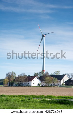 Alternative energy with a windmill at a farm