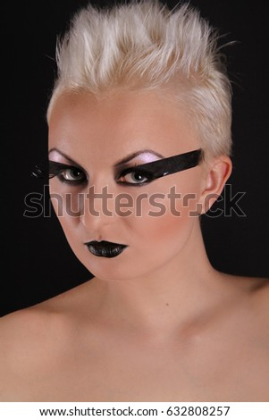 alternative gothic make up portrait girl on black background isolated