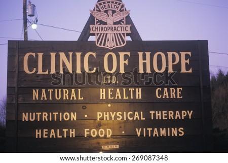 Alternative healthcare clinic sign - stock photo