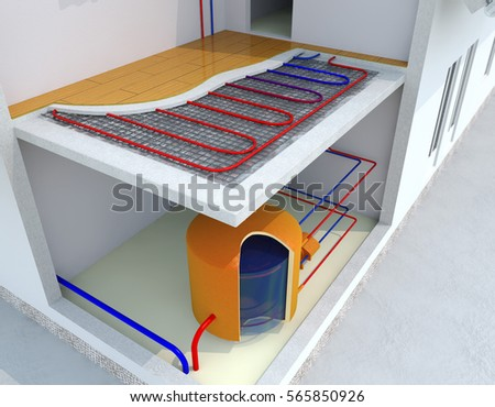 alternative heated house radiant underfloor heating stock