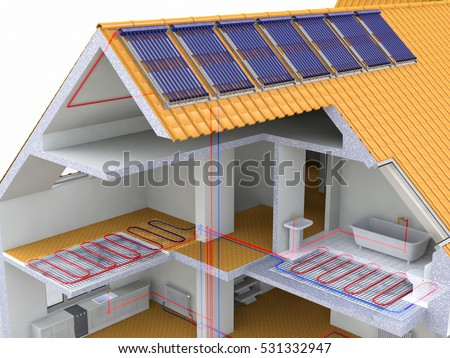Alternative Heated House With Solar Panels, Heating Systems, Solar Panels Heating, Warm floor, Under Floor Heating Systems, Renewable Energy Home Concept - 3D Rendering