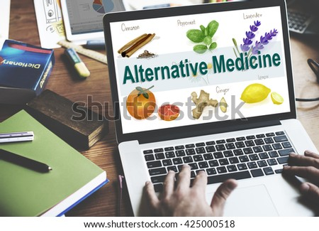 Alternative Medicine Health Herb Therapy Concept - stock photo