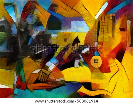 alternative reproductions of famous paintings by picasso applied abstract style of kandinsky designed in - Free Painting Pictures